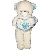 Empreus jumbo 90 cm Cream teddy bear with Blue Frill heart