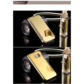 LUXURY Clear view mirror flip phone case Samsung Galaxy S6 Edge Plus electroplated - Gold
