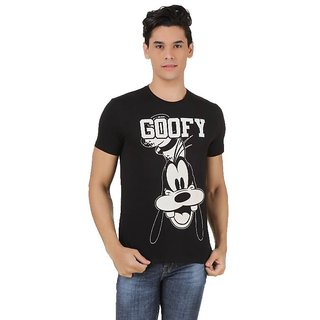 Mickey  Friends Cotton Black Casual Printed Crew Neck Tee (MF0EMT649)