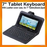 Tablet Keyboard Leather Cover Case With Bracket Touch Pen USB Port For 7inch Tab
