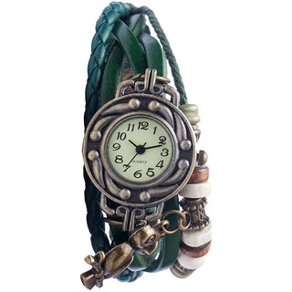 Diovanni Owl Always Loves You  Faux Leather Beadwork Hipster Watch