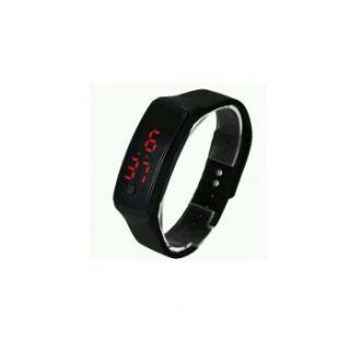 Set Of 2 LED Sports Trendy Digital Jelly Watch Black