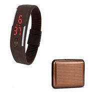 LED Jelly Slim Digital Trendy Watch Brown With Brown Aluma Wallet