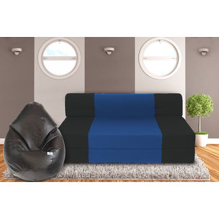 Dolphin Zeal 3 Seater Sofa Bed-Black R.Blue- XXL Black Bean Bag Cover Free