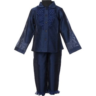 Dupion Designer Top with Capri Casual Navy Blue color Dress for 1-2 Years