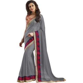 Lovely Look Grey Embroidered Saree LLKMTR1809B