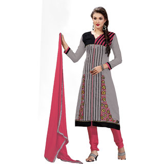 Lovely Look Grey Embroidered Un Stitched Chudidar Suit LLKVTG6303