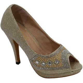 Belson Gold Heels for Women (193C10Gold)