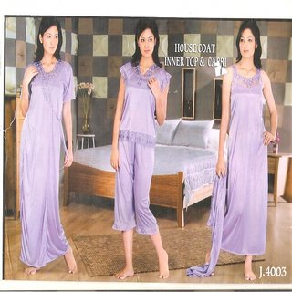 WOMEN SATIN 3 SET LONG GOWN SLEAVE  SLEAVE LESS, TOP  CAPRY NIGHT WEAR DRESS