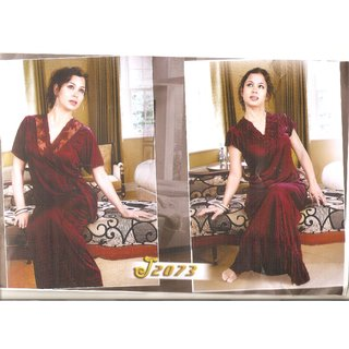WOMEN SATIN 2 SET LONG NIGHT WEAR GOWN