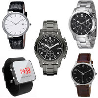 Combo Of 2 Analog Metal Watches, 2 Analog Strap Watches And 1 LED Watch - Unisex