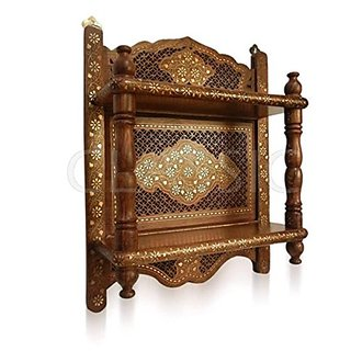 Wooden Wall Bracket Sheesham Wood Double Shelf Mandir Temple Shelves Size(LxBxH-17x6x21) Inch