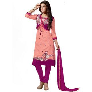 Parisha Peach Chanderi Embroidered Kurta & Churidar Dress Material