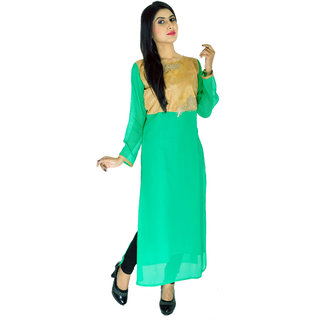 Aarshi Designer Georgette Solid Partywear Dailywear Semi Casual Embroidery Work Straight Smart Kurti KMD/AMB/1/1155D