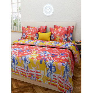 Desi Connection  Floral Cotton Double Bed Sheet(4383)