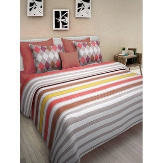 Desi Connection Multicolour Striped Cotton Double Bed Sheet(4414)