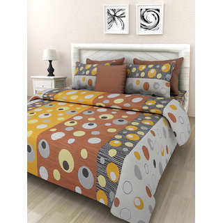 Desi Connection Yellow  Contemporary Cotton Double Bed Sheet(4452)
