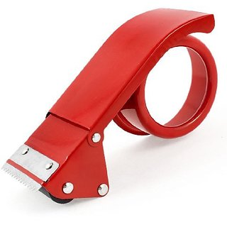 Sealing Packaging Metal 48mm Width 7cm Inner Dia Tape Cutter Dispenser Red