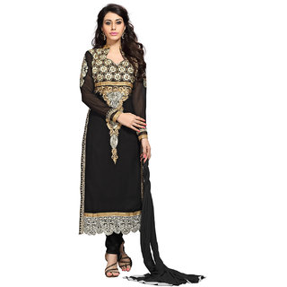 Aaina Black Georgette Embroidered Dress Material (SB-2978)