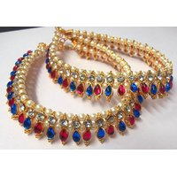 Pink and Blue Tilak Golden Pearl Anklet