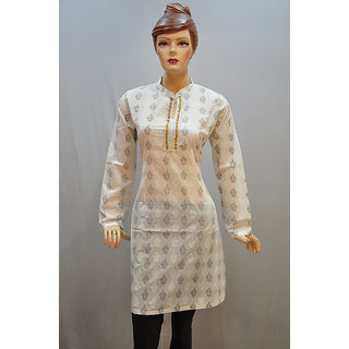 VAMSI Beautiful Cotton Printed White Color Kurti