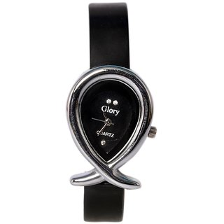 Oval Dial Black Leather Strap Womens Quartz Watch