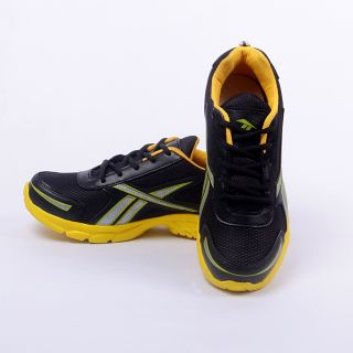 Foot 'n' Style Comfortable Black & Yellow Sports Shoes (fs427)
