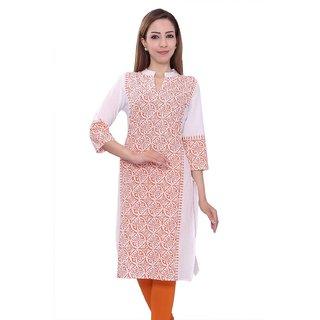 Designs Womens Cotton Kurti White and Orange