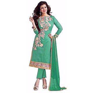 Trendz Apparels Ferozi Chanderi Cotton Straight Fit Salwar Suit