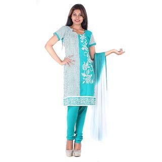 RangoliSF Cotton Printed Blue Unstitched Salwar Suit Dress Material (RSFG1411)