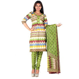 RangoliSF Cotton Printed Green Unstitched Salwar Suit Dress Material (RSFT1009)
