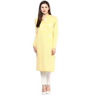 BrandTrendz Royal Yellow  White Woollen Kurtis