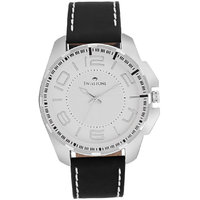 Swisstone SW-GR023-WHT-BLK White Dial Black Strap Analog Wrist Watch For Men/Boys