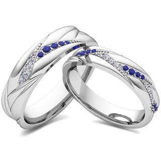 SILVOSKY 92.5 Silver Couple Band Rhodium Plated Ring Set SR28-P