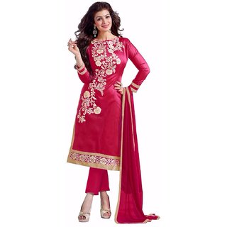 Trendz Apparels Raani Chanderi Cotton Straight Fit Salwar Suit