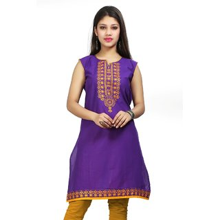 Valas Womens Cotton Embroidered Violet Long Kurti (3446)