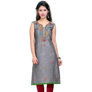 Valas Womens Cotton Embroidered Grey Long Kurti (3659)