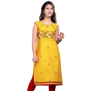 Valas Womens Cotton Embroidered Yellow Long Kurti (3660)