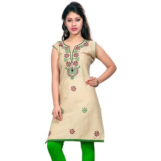 Valas Womens Lawn Embroidered Cream Long Kurti (3766)