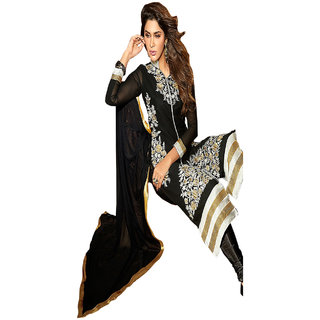 Aaina Black Georgette Embroidered Dress Material (SB-3023)
