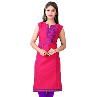 Valas Womens Cotton Printed Magenta Pink Long Kurti (3313)