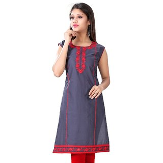 Valas Womens Cotton Printed Lead Grey Long Kurti (3314)