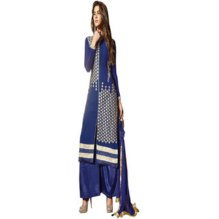 Aaina Blue Georgette Embroidered Dress Material (SB-3029)