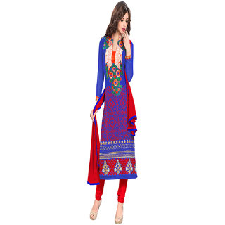 Aaina Blue Georgette Embroidered Dress Material (SB-3033)