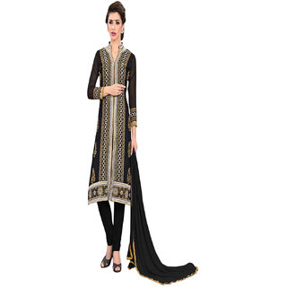 Aaina Black Georgette Embroidered Dress Material (SB-3048)