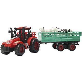 Toyzstation Farm Tractor With Trolley(Assorted Colour)