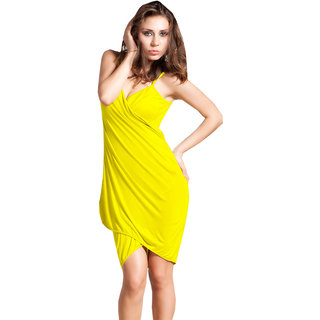 Glamorous Open Back, Yellow Bikini Cover Up Wrap Dress