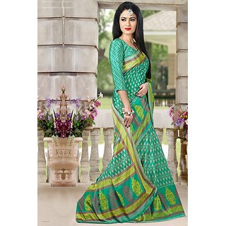 DesiButiks  Green Crepe Saree with Blouse VSM6121