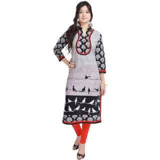 RajLaxmi Lovely Bird Printed Black Rayon Kurti