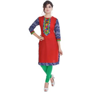 RajLaxmi Preety Look Red Cotton Kurti